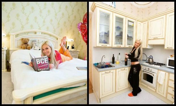 Квартира Ольги Бузовой: спальня и кухня