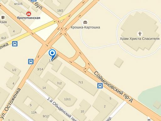 Расположение дома Малахова на карте